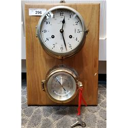 Schatz Royal Mariner Ships Clock Mounted On Board With Brass Barometer And Key