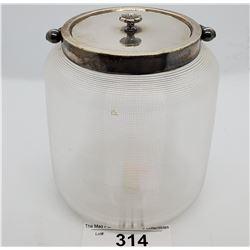 1880-1900 Threaded Glass Biscuit Barrel