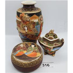 3 Pieces Of Japanese Vintage Satsuma With Raised Figurines