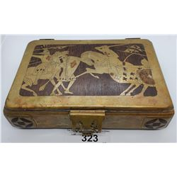 Unique Decorated Box With Knights Fighting On Lid Vintage