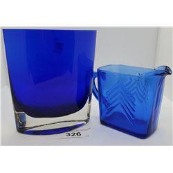 Cobalt Blue Vase And Creamer Depression