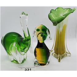 Art Glass Dog, Elephant And Vase