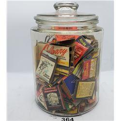 Vintage Lidded Jar Full Of Vintage Matches