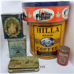 6 Tins Including Hill Coffee Vancouver