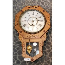 Ornate Canadiana School House Clock With Carving