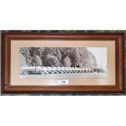 Framed Photograph Of Fleet Of Oil Service Trucks Vintage