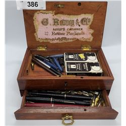 Small Antique Victorian Wooden Box With Drawer Full Of Vintage Pens And Nibs