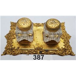 Victorian Christian Inkwell Set On Ornate Brass Stand