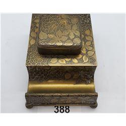 Glass Inkwell Set In Bronzed Ornately Finished Case