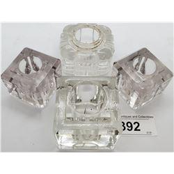 4 Glass Vintage Inkwells