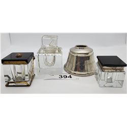 4 Vintage Inkwells