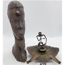 Folk Art Steel Ashtray And African Ebony Sculpture