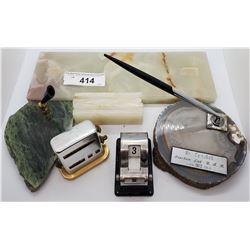 Assortment Of Marble Top Desk Top Accessories