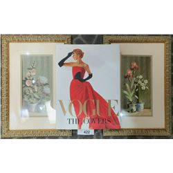 2 Framed Prints Of Flowers And Hardcover Vogue Book