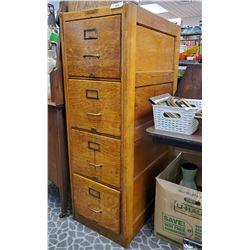 Canadiana 4 Drawer Oak Filing Cabinet All Original