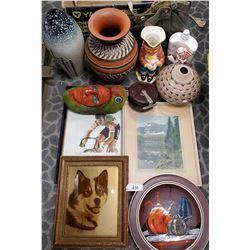 Vintage Box Of Misc. Pottery, Pictures, Etc..