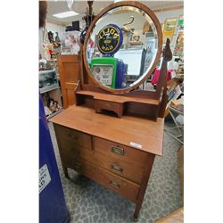 Nicely Refinished Quality English Dresser With Bevelled Mirror