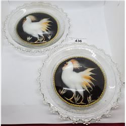 Pair Of Roosters Matching In Glass Cases