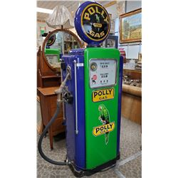 Restored Poly Gas Pump With Mint Porcelain Face, Original Brass Nozzle And Poly Gas Globe