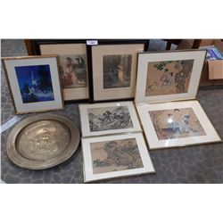 7 Assorted Pictures, Including 2 Asians On Silk, Brass Decorative Tray