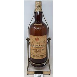 Hudson Bay Whiskey Bottle On Stand, Empty