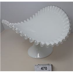 Large Curve Milk Glass Cake Stand On Stand