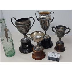 4 Trophies With Felix Pop Bottle And Opener
