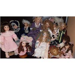 Vintage Porcelain Headed Dolls In Original Clothes