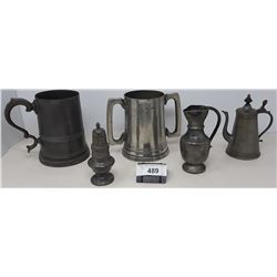 5 Pieces Of Vintage Pewter