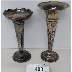 Pair Of Fluted Plated Vases