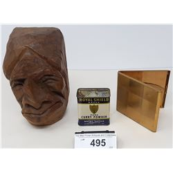 Carved Native Head With Spice Can And Cigarette Case