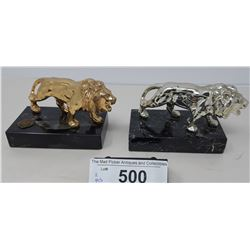 Pair Of Bronze Lions On Marble Bases From The Lions Club