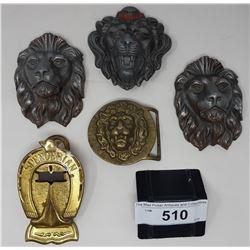 4 Assorted Lion Motif Belt Buckles Vintage And Spencerian Paper Holder