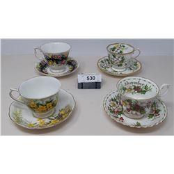 4 Porcelain Cups And Saucers Royal Albert