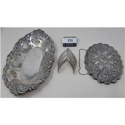 Brass Plated Decorative Hanging Mirror, Large Ornate Silver Plated Tray, Silver Plated Bracelet