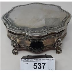 Large Quality Silver Plated Jewelry Casket