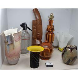Large Box Of Misc. Art Glass, Seltzer Bottles, Etc..
