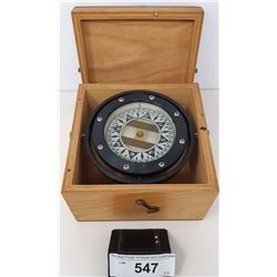 Vintage Ship Compass In Wooden Box