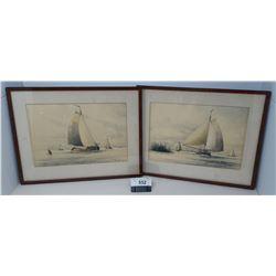 2 Vintage Framed Water Colors Of Sailing Ships