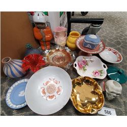 Box Of Vintage Limoge Dishes, Carnival Glass, Etc…