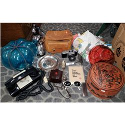 Box Of Vintage Misc, Cameras, Telephones, Peanut Bedsheets, Etc..