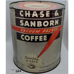 Vintage 15Lb Chase And Sanborn Coffee Can With Lid