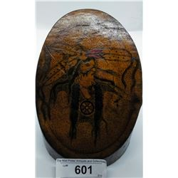 Early West Coast Native Painting Of Indian On Log