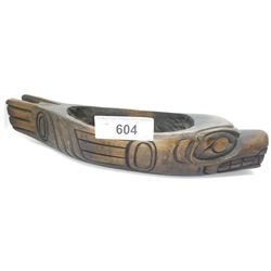 Carved West Coast Native Wolf Bowl