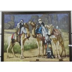 Large Oil On Canvas Depicting 3 Middle Eastern Tribal Men With Camels