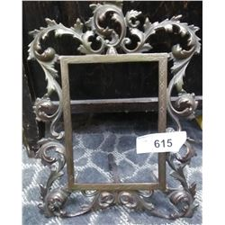Early Solid Brass Decorative Standing Picture Frame