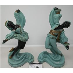 Vintage Chalkware Dancing Male And Female Figurines