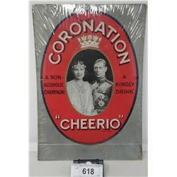 1937 Royal Cornation Cheerio Non Alchoholic Cardboard Advertisement