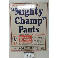 Early Cardboard Advertisement Mighty Champ Pants Sold Here