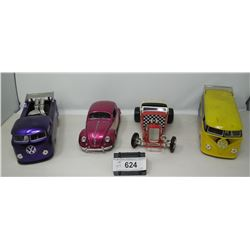 4 Piece 1:18 Scale Die Cast Vehicles, 2 Volskwagon Vans, 1 Beatle, 1 Hot Rod